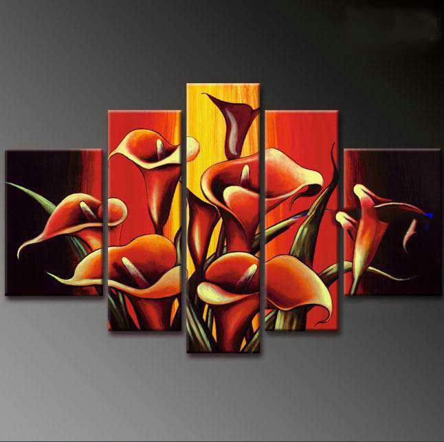 Black red yellow background with flowers on canvas modern for Acrylic painting on black background