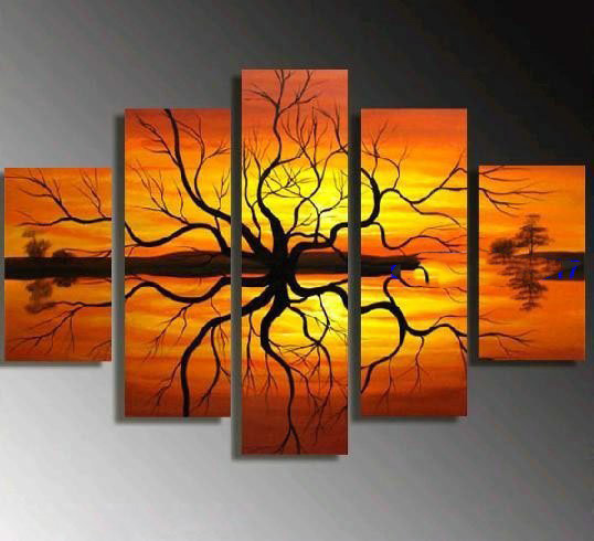 Orange Yellow Background Modern Oil, Paintings With Yellow Background